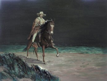 Painting of a moonlight ride, on a Peruvian Paso horse.