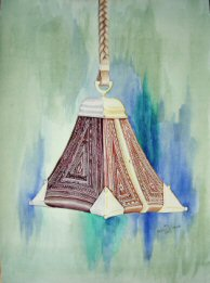 Highly detailed watercolor painting of a hand carved Peruvian stirrup.