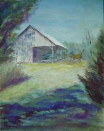 Watercolor painting envisioned from a shed I saw in Tennessee.