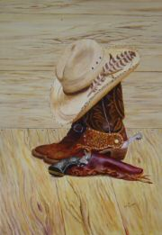 """248 Larry Marker's Still Life"", acrylic painting of a western still life."