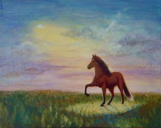 "Acrylic painting named ""Have a close encounter of the best kind, ride a Peruvian"""