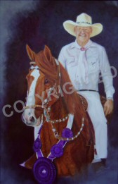Oil painting of Robert Garner on Romancero, a Peruvian Paso gelding