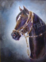 Oil painting of a Peruvian Paso mare named Essie