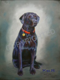 Painting of a very nice black lab named Miss JR.