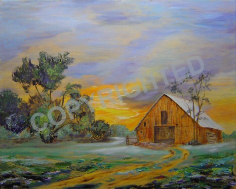 Sunrise is an oil painting of an old barn at sunrise.
