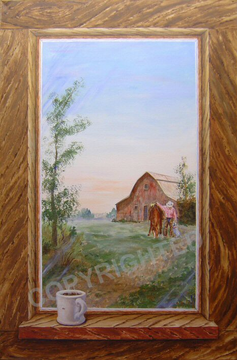 Acrylic painting, looking out a painted window frame at a cowboy and a barn.  A coffee cup is on the window ledge.