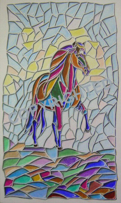 A colored pencil drawn to look like a stained glass window with a horse in it.