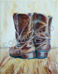 Painting of my old brown riding boots.