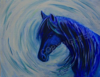A horse painted with blues.