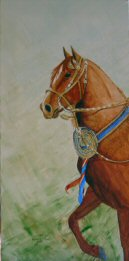 Acrylic painting of a champion Peruvian Paso horse.