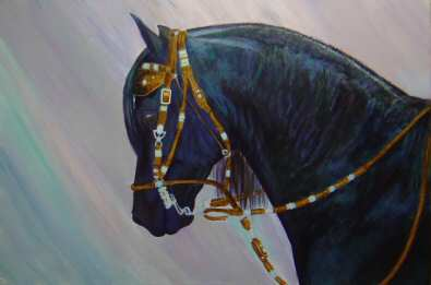 Acrylic painting of a Peruvian stallion named *Casimiro de la Palizada