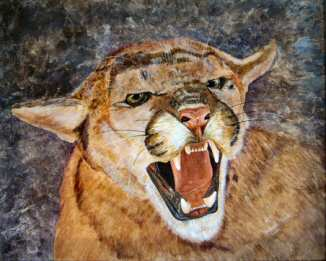Acrylic painting of a snarling cougar.