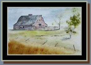"Acrylic Painting ""Jim White's Barn"" in frame #2"
