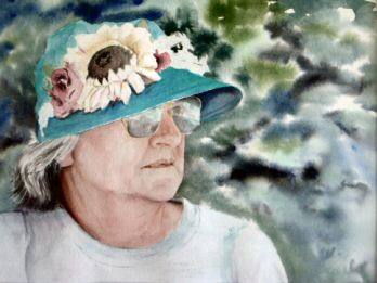 Watercolor painting, a portrait of Nelda
