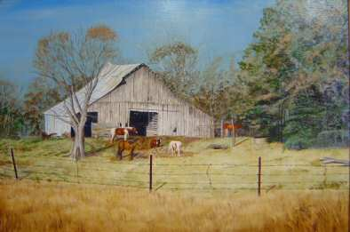 This acrylic painting is of an old barn located in Pottsville, Arkansas.