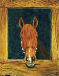 Acrylic painting of a Peruvian Paso horse named Rayo.