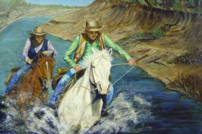 This acrylic painting is of two people racing horses in a river, coming towards the viewer.