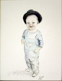 Water color painting of a young boy.