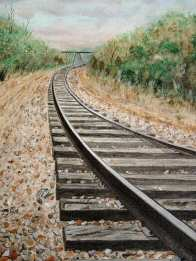 Acrylic painting of railroad tracks disapearing round the bend.